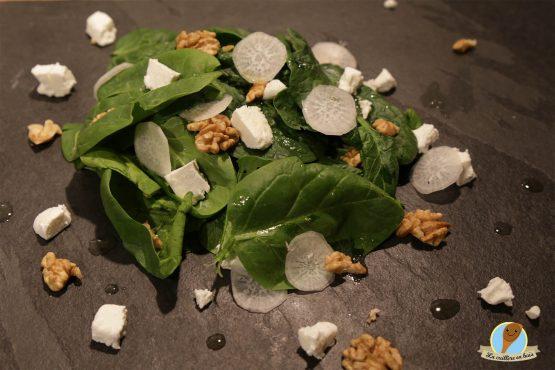 recette de salade fraicheur chèvre épinards